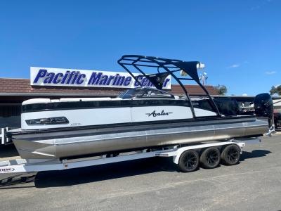 2021 Avalon Catalina Platinum Elite Windshield 27' w/ Twin 400HP Mercury Racing Motors! for sale in Madera, California at $169,995